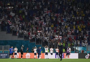 England manager Gareth Southgate and his players celebrate the victory with their fans in Stadio Olimpico.