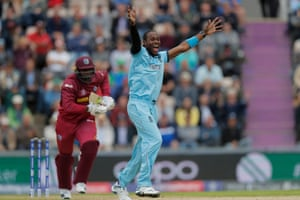 Jofra Archer of England appeals for the wicket of Sheldon Cottrell of West Indies.