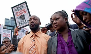 Tracy Martin and Sybrina Fulton, parents of Trayvon Martin, at a protest in New York City on 21 March 2012.