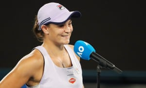 Australia's Ashleigh Barty being interviewed after winning her fourth round match.