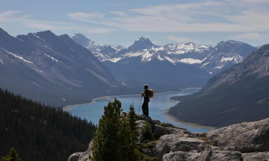 Kevin Rushby takes in a view of Spray Lakes reservoir in the Rockies.