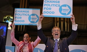 Nigel Farage and Annunziata Rees-Mogg at a Brexit party rally at the Albert Hall Conference Centre in Nottingham yesterday.