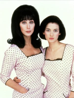 """Flax of life ... 1990's Mermaids found Ryder starring opposite Cher in a Saffy and Edina relationship: the uptight daughter trying to keep her absolutely embarrassing mother (""""Mrs Flax"""") in check. The matching polka dots here suggest a little hope for their generation gap."""