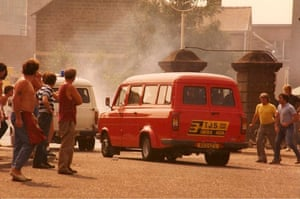 Coal miners' strike August 1984 and the first break in the strike at Armthorpe.