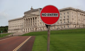A no entry sign outside Stormont in Belfast