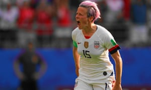 Megan Rapinoe celebrates her second goal against Spain