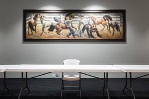 """""""The Horse Breakers"""" de Fletcher Martin, originalmente pintado para Lamesa, Texas Post Office, ahora cuelga en el centro comunitario"""