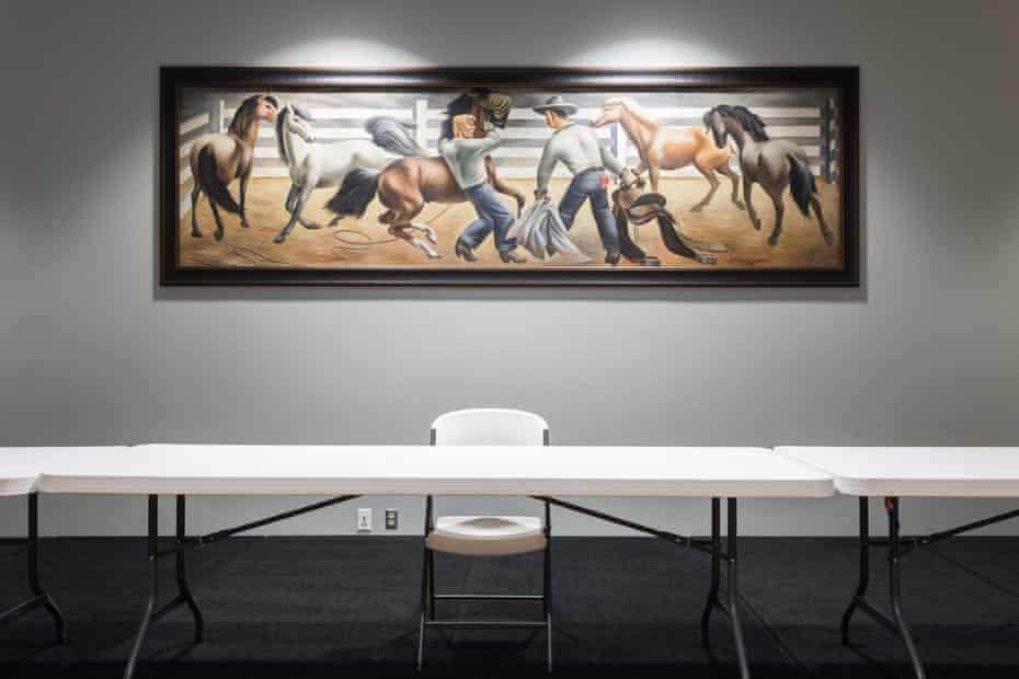 """""""The Horse Breakers"""" by Fletcher Martin, originally painted for the Lamesa, Texas Post Office, now hangs in the community center."""