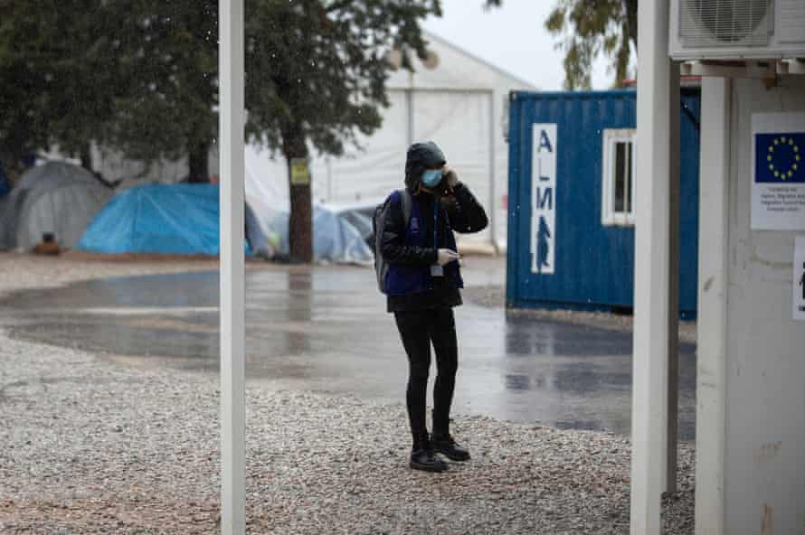 An International Organisation for Migration official in the Malakasa migrant camp in Greece.