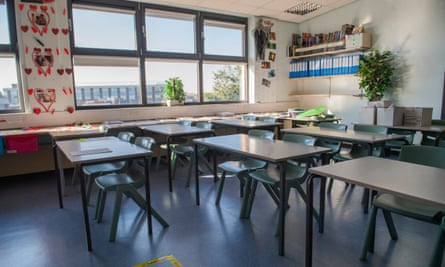 A classroom ready for the return of pupils in September