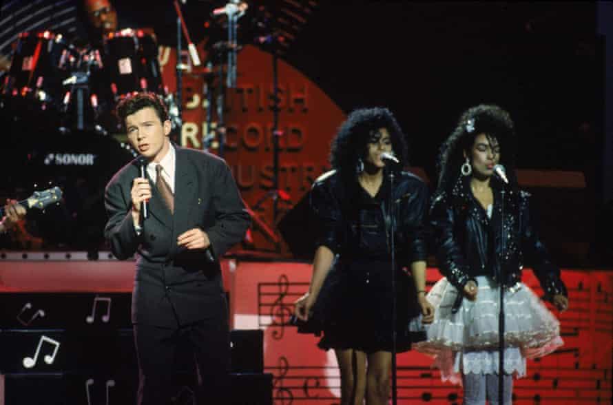 Rick Astley performs at the 1986 BFI awards.
