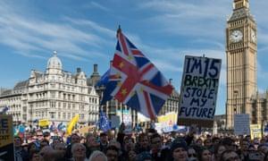Anti-Brexit protesters in Parliament Square.