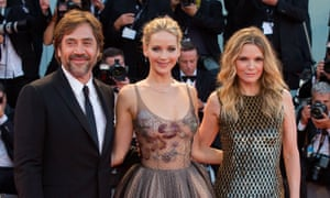 Javier Bardem, Jennifer Lawrence and Michelle Pfeiffer at the premiere of mother