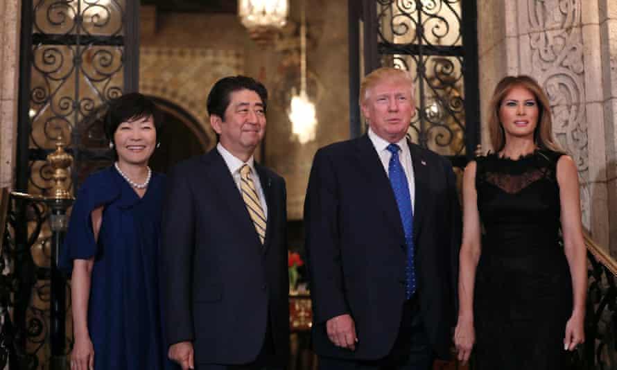 Akie Abe, Shinzo Abe, Donald Trump and Melania Trump at Mar-a-Lago Club in Palm Beach, Florida Saturday.