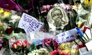 Floral tributes placed near the spot when Kiyan Prince was stabbed to death in 2006.