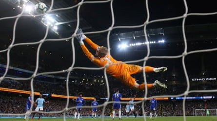 Manchester City's Vincent Kompany scores their first goal against Leicester City, May 6 2019