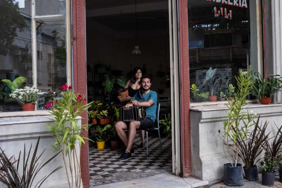 Nicolas Ponce and his girlfriend in their new shop with the tango-themed name Flores Negras.