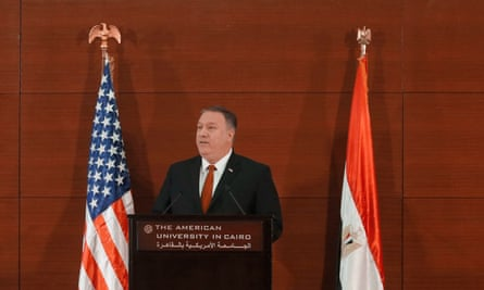 US secretary of state Mike Pompeo delivers a speech at the American University in Cairo, Egypt.