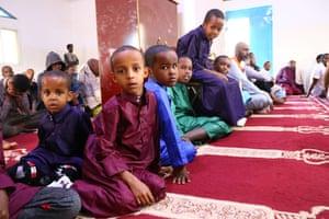 Muslims perform Eid al-Adha prayer at a mosque in Hargeisa, Somaliland