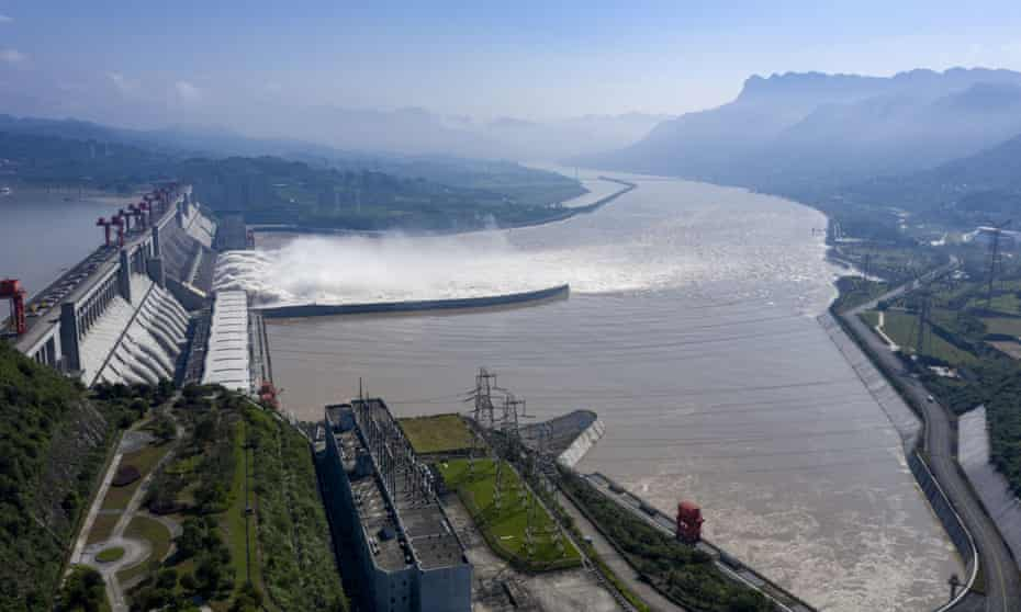 Aerial photo shows water gushing out from the Three Gorges dam in central China's Hubei province.