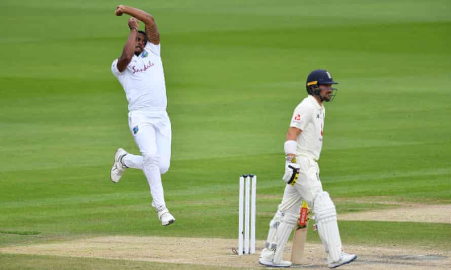Shannon Gabriel charges in on Sunday but three Tests in as many weeks has proved physically tough for the big Trinidadian.