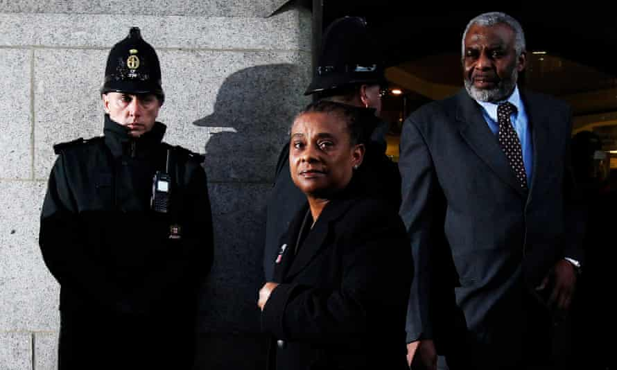 Doreen and Neville Lawrence outside the Old Bailey after the conviction of Gary Dobson and David Norris.