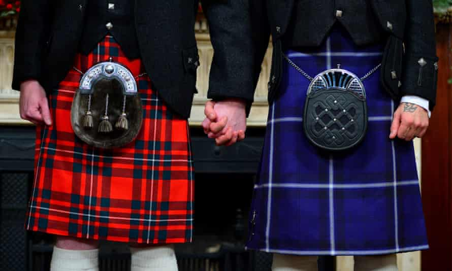 A gay couple on their wedding day in Scotland