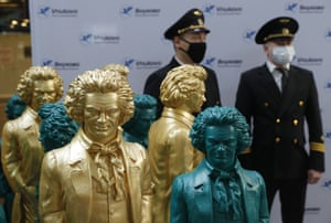 Moscow, Russia. A sculpture exhibition marking the 250th anniversary of Beethoven's birth opens at Vnukovo airport