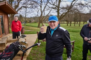 Roger enjoys a cup of soup after his round. Roger is usually the first to tee off here every single day. Hadley Wood Golf Club