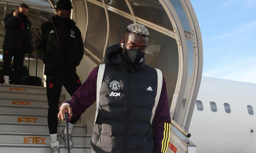 Paul Pogba and the Manchester United squad arrive in Paris.