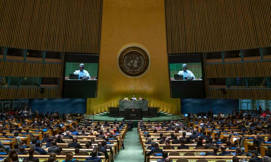 The opening of the UN general assembly at the organisation's headquarters in New York