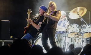 Roger Glover and Steve Morse of Deep Purple play live in Mexico in 2015.