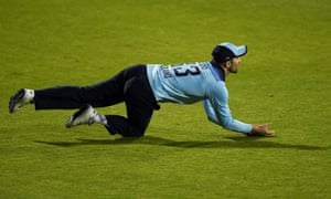 Mark Wood of England takes the catch to dismiss Alex Carey of Australia.