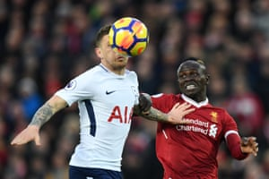 Tottenham's Kieran Trippier beats Liverpool's Sadio Mane to the header during the 2-2 draw at Anfield.