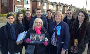 Elliott Johnson, far left, campaigning with Jane Hunt.