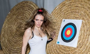 Performance artist and actor Lucy McCormick at an archery range