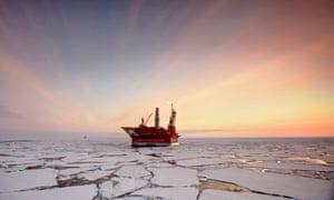 The Prirazlomnaya offshore ice-resistant oil-producing platform.