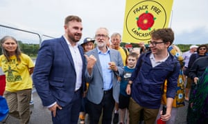 Jeremy Corbyn visiting the anti-fracking protest camp outside Cuadrilla's Preston New Road site near Blackpool.
