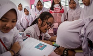 Sex education lessons at SMPN 22 school in Jakarta
