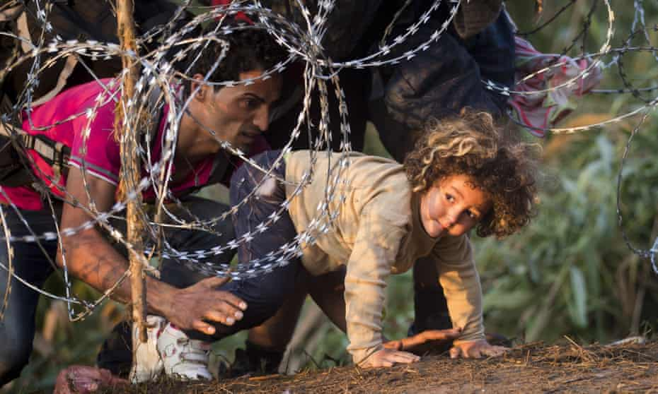 Refugees clamber through barbed wire on their way from Serbia to Hungary.