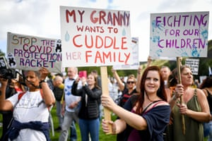 Protestors in Edinburgh demonstrating against Covid-19 prevention measures.