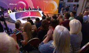 Question Time in London, 5 September 2019: (left to right) Layla Moran, Richard Tice, Emily Thornberry, Fiona Bruce, Kwasi Kwarteng, Ian Blackford, Iain Dale.