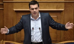 Greek Prime Minister Alexis Tsipras addresses a parliament session in Athens on March 30, 2015. The EU warned on March 30 that Greece and its creditors had yet to hammer out a new list of reforms despite talks lasting all weekend aimed at staving off bankruptcy and a euro exit. AFP PHOTO / ARIS MESSINISARIS MESSINIS/AFP/Getty Images