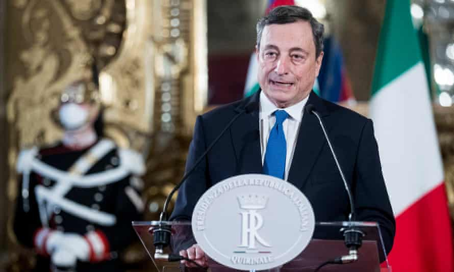 Mario Draghi speaks at Quirinal Palace in Rome, the official residence of the President of the Republic.