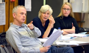 Dominic Cook, Caryl Churchill and Rosemary McKenna in the National theatre production of Here We Go
