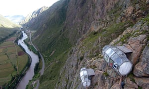 Suspended 400m above the Sacred Valley, near Cusco, Peru, the transparent Skylodge pods offer panoramic views.