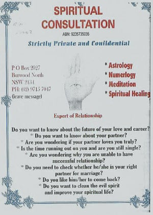 An advertisement for spiritual consultation shown at the inquest.