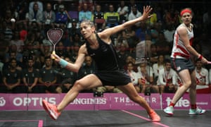 Joelle King of New Zealand in action during her victory over Sarah-Jane Perry of England.