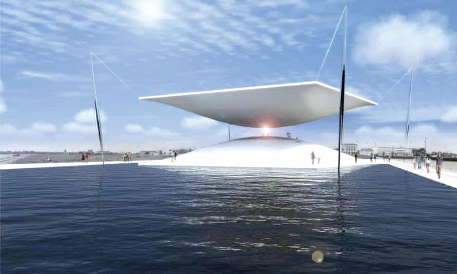 This rendering of the proposed Solar Hourglass project shows it working by channeling sunlight to produce electricity.