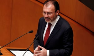 Mexico's foreign minister, Luis Videgaray, speaks during a meeting of the senate in Mexico City on Tuesday.